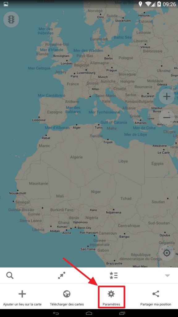 Capture d'écran de l'application Maps.me, bouton paramètres