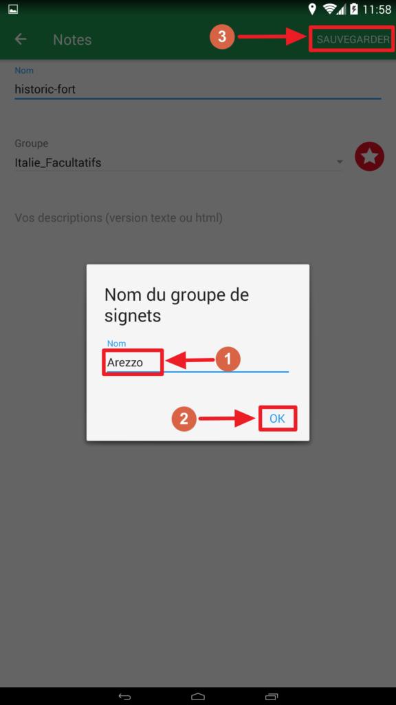 Capture d'écran de l'application Maps.me : nouveau groupe de signets.