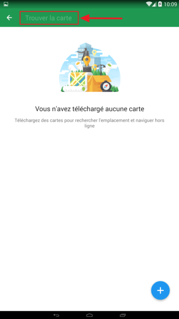Capture d'écran de l'application Maps.me : télécharger des cartes