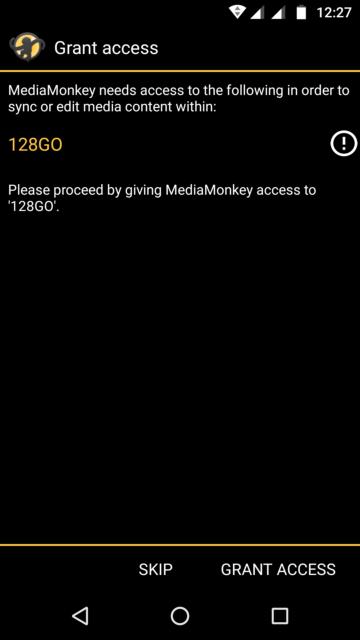 Capture d'écran de l'application MediaMonkey Android, demande pour accorder l'accès à la carte mémoire.