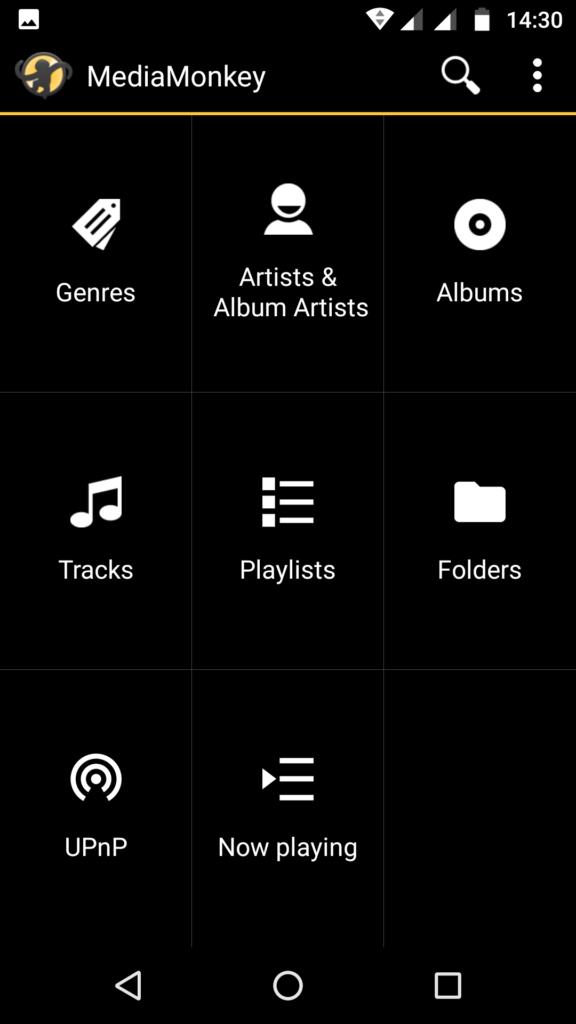 Capture d'écran de l'application MediaMonkey Android, exemple d'écran d'accueil personnalisé.