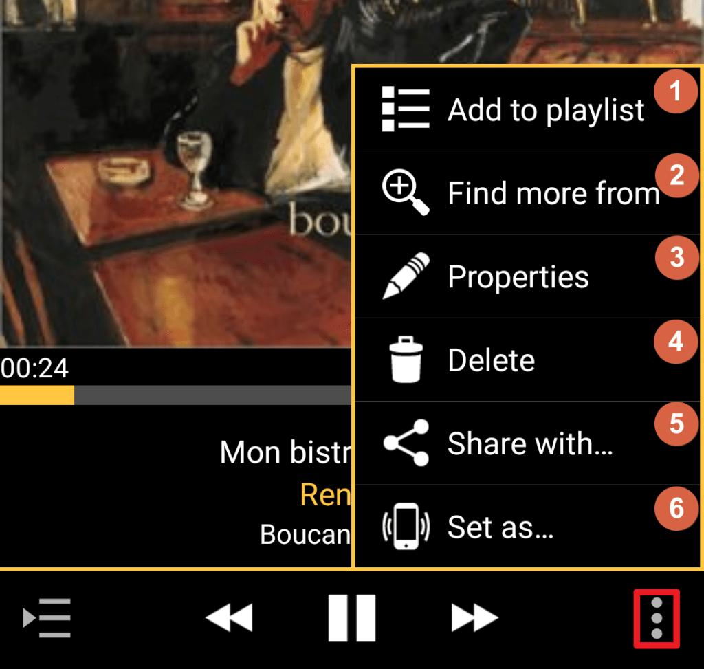 Capture d'écran de l'application MediaMonkey Android, actions supplémentaires d'une chanson en cours.
