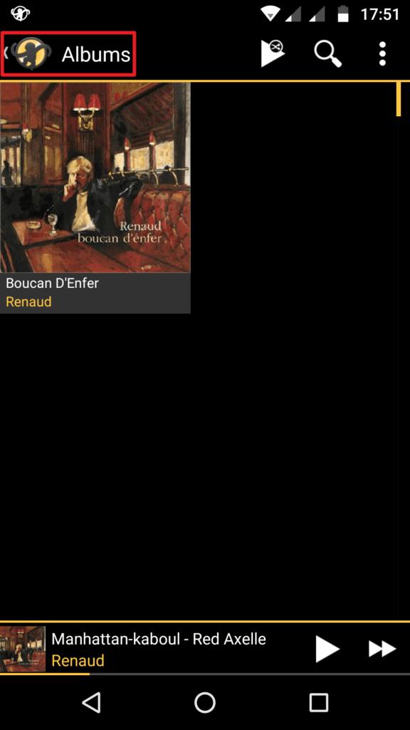 Capture d'écran de l'application MediaMonkey Android, album téléchargé.