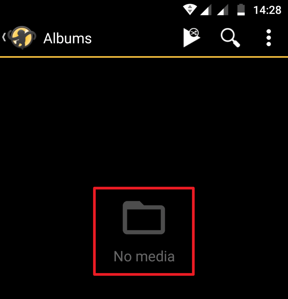 Capture d'écran de l'application MediaMonkey Android, bibliothèque vide.
