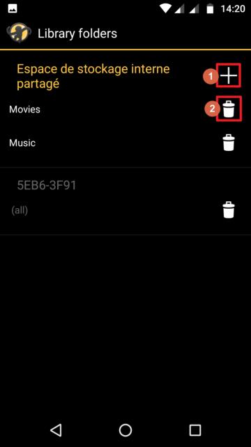 Capture d'écran de l'application MediaMonkey Android, ajouter ou supprimer les dossiers intégrés à la bibliothèque MediaMonkey.