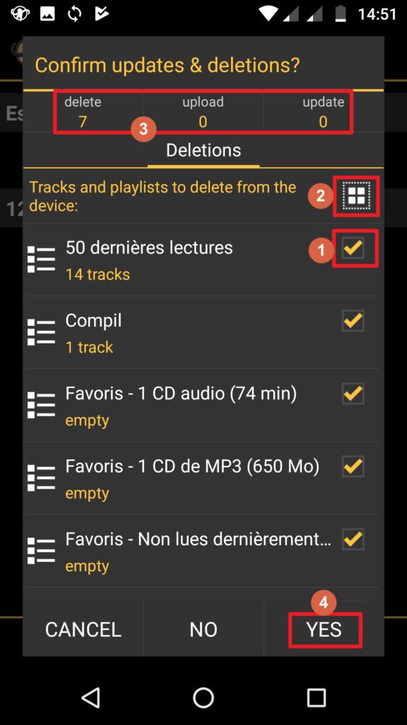Capture d'écran de l'application MediaMonkey Android, écran de confirmation des suppressions, envois et mises à jour.