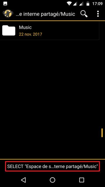 Capture d'écran de l'application MediaMonkey Android, choix de l'emplacement de téléchargement UPnP.