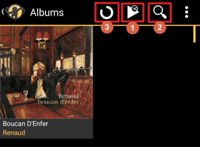 """Capture d'écran de l'application MediaMonkey Android, vue """"Albums"""" avec les boutons de lecture aléatoire et recherche."""