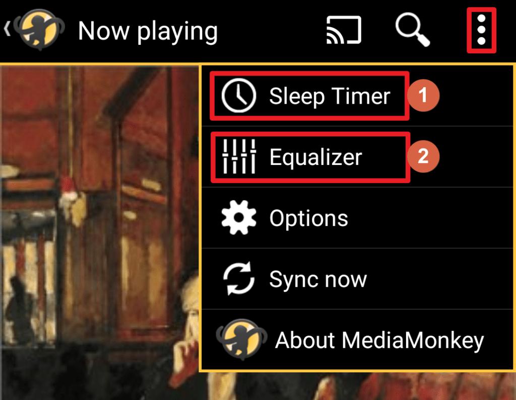 Capture d'écran de l'application MediaMonkey Android, minuteur et égaliseur.