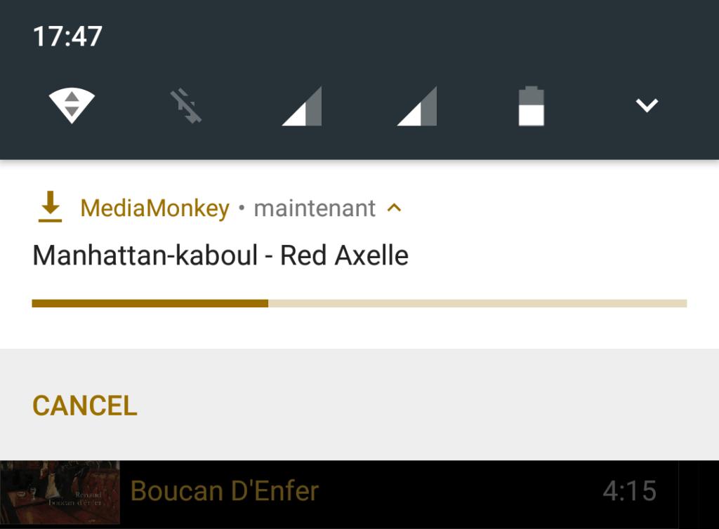 Capture d'écran de l'application MediaMonkey Android, affichage de la notification de téléchargement en cours.