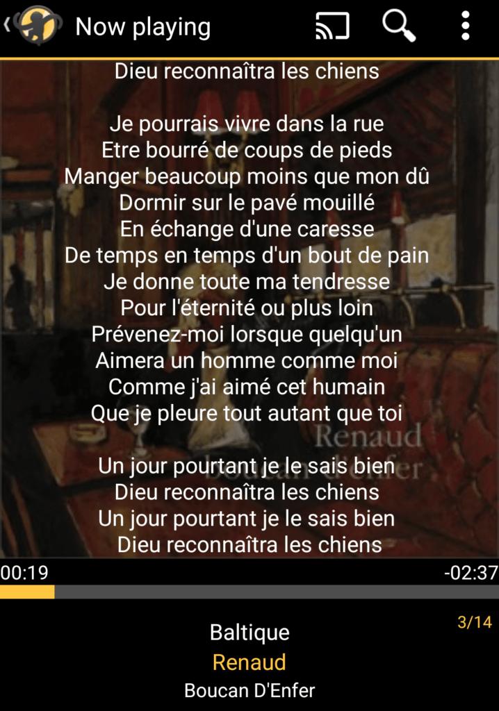 Capture d'écran de l'application MediaMonkey Android, paroles affichées.