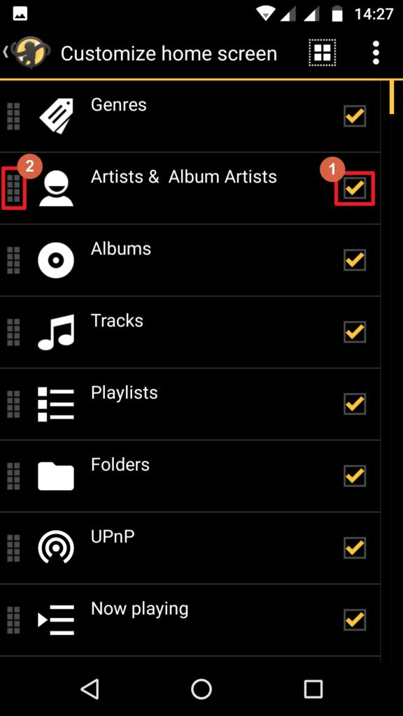 Capture d'écran de l'application MediaMonkey Android, personnalisation de l'écran d'accueil.