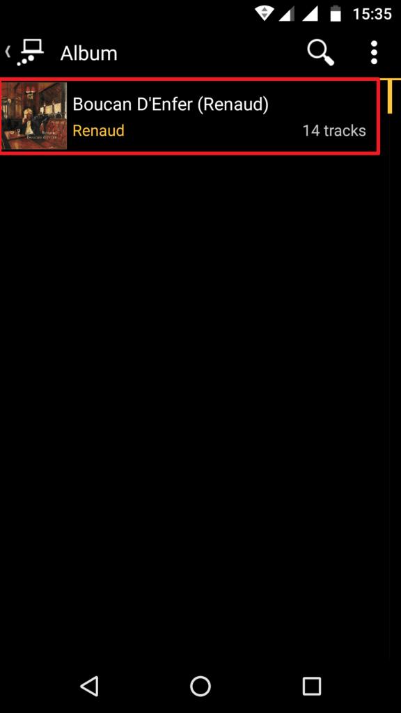 Capture d'écran de l'application MediaMonkey Android, un album listé via UPnP.