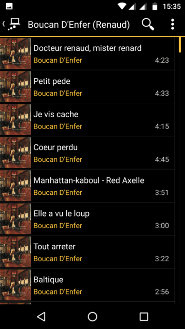 Capture d'écran de l'application MediaMonkey Android, liste des pistes d'un album via UPnP.