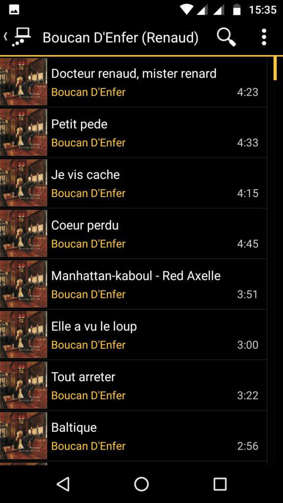 Capture d'écran de l'application MediaMonkey Android, liste des pistes d'un album via UPnP.