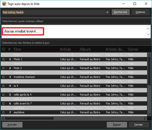 """Capture d'écran de l'application MediaMonkey, fenêtre """"Tags-auto depuis le web"""" montrant qu'aucun résultat na été trouvé."""