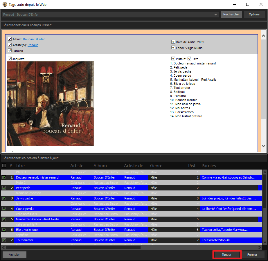 Capture d'écran de l'application MediaMonkey, bon résultat de recherche.