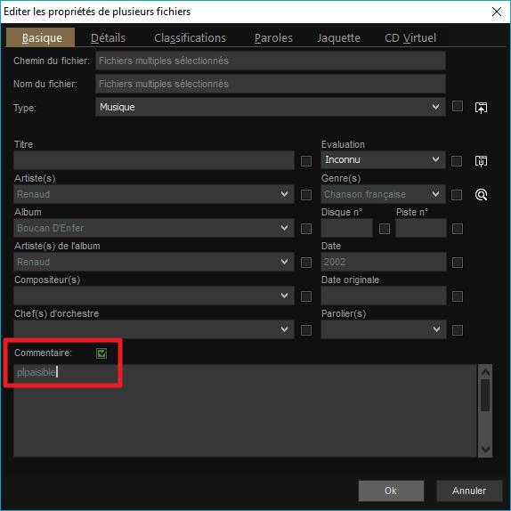 """Capture d'écran de l'application MediaMonkey, ajout de """"plpaisible"""" au commentaire de deux fichiers."""