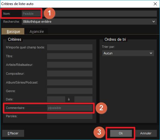 """Capture d'écran de l'application MediaMonkey, critères de liste-auto avec nom """"Paisible"""" et critère commentaire """"plpaisible""""."""