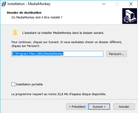 Capture d'écran de l'application MediaMonkey, choix du dossier de destination.