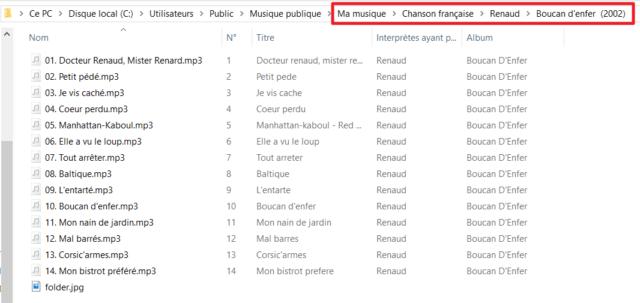 Capture d'écran de l'application explorateur de fichiers Windows, dossier contenant les chansons extraites.
