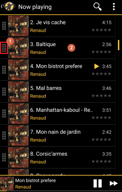 Capture d'écran de l'application MediaMonkey Android, écran liste de lecture en cours.