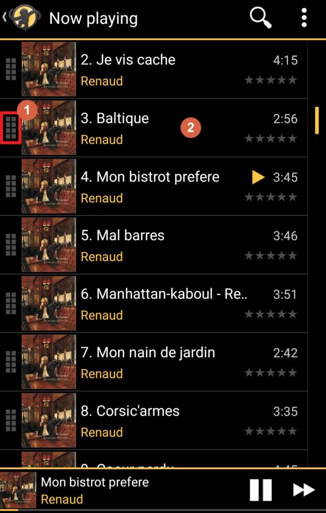 Capture d'écran de l'application MediaMonkey Android, écran liste de lecture en cours.