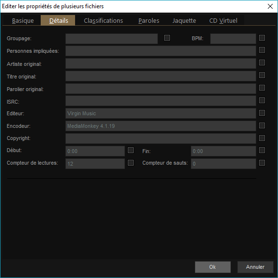 """Capture d'écran de l'application MediaMonkey, édition des propriétés des fichiers, onglet """"Détails""""."""
