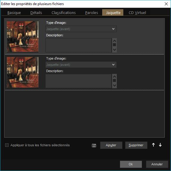 """Capture d'écran de l'application MediaMonkey, édition des propriétés des fichiers, onglet """"Jaquette""""."""