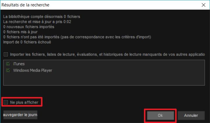 Capture d'écran de l'application MediaMonkey, résultats de la recherche.