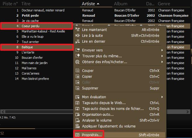 Capture d'écran de l'application MediaMonkey, sélection de deux fichiers puis propriétés.