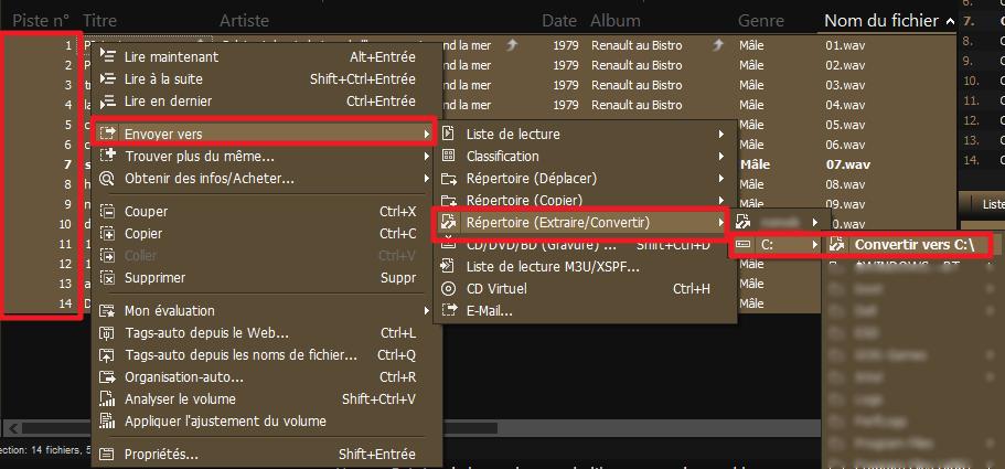 """Capture d'écran de l'application MediaMonkey, sélection de tout les fichiers et action """"Convertir""""."""