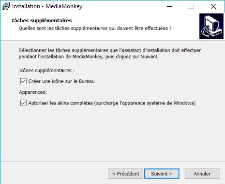 """Capture d'écran de l'application MediaMonkey, fenêtre """"tâches supplémentaires""""."""
