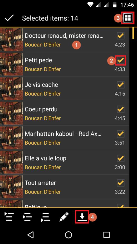 Capture d'écran de l'application MediaMonkey Android, sélection des fichiers à télécharger.