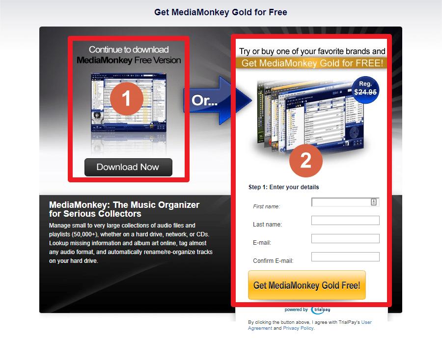 """Capture d'écran du site MediaMonkey, choix du téléchargement de la vraie version gratuite ou de la version """"Gold"""" obtenable gratuitement."""