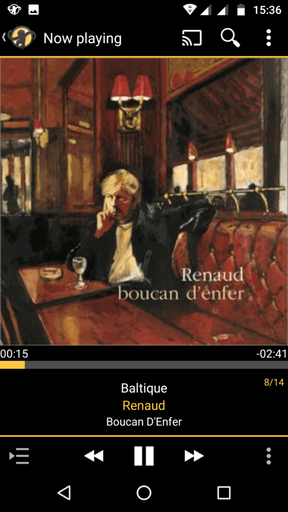 Capture d'écran de l'application MediaMonkey Android, lecture en cours d'une piste via UPnP.
