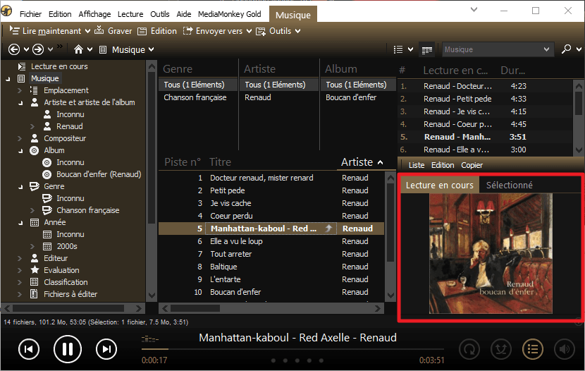 Capture d'écran de l'application MediaMonkey, vue jaquette seule.