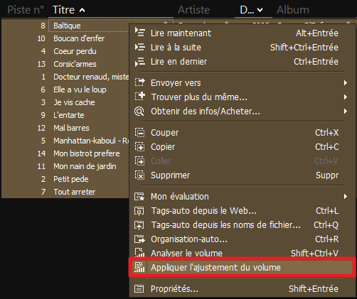 Capture d'écran de l'application MediaMonkey Windows, ajustement manuel du volume.
