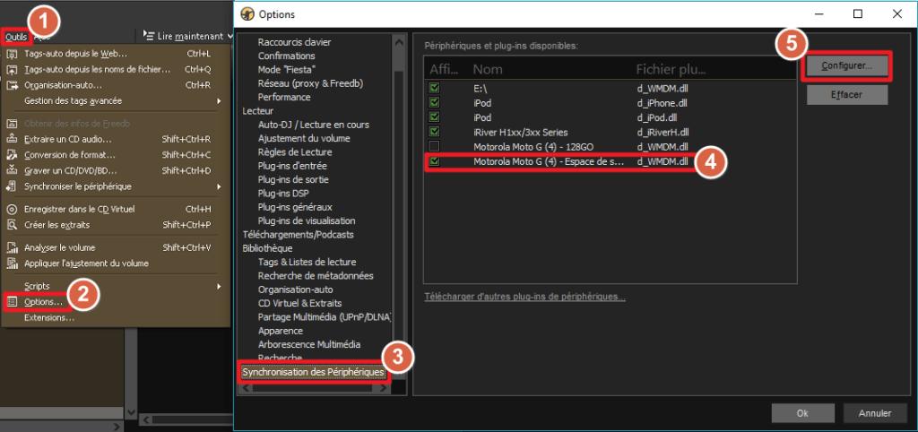 Capture d'écran de l'application MediaMonkey Windows, accès à la configuration d'un périphérique.