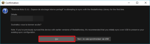 Capture d'écran de l'application MediaMonkey Windows, confirmation de connexion.