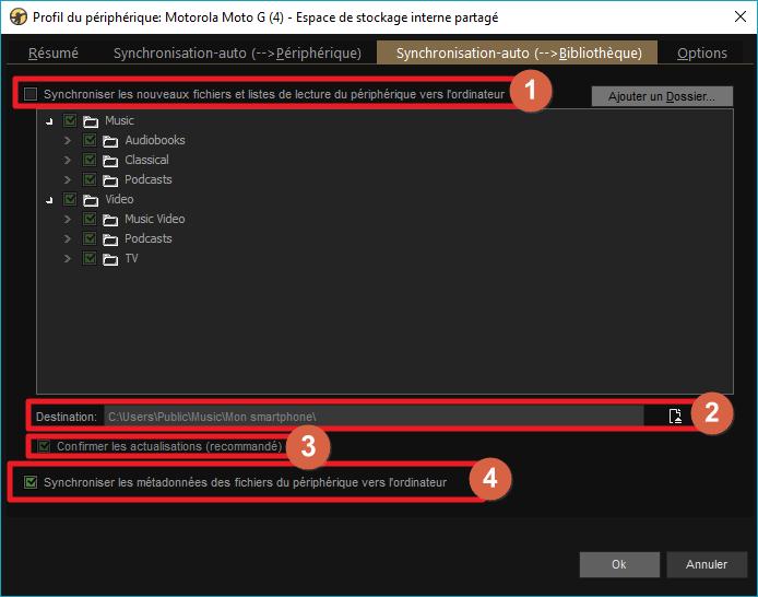 """Capture d'écran de l'application MediaMonkey, onglet """"Synchronisation-auto vers PC"""" du profil de périphérique."""