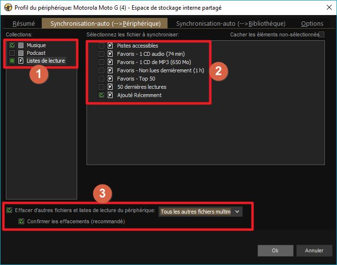 """Capture d'écran de l'application MediaMonkey, onglet """"Synchro-auto vers périphérique"""" du profil de périphérique."""