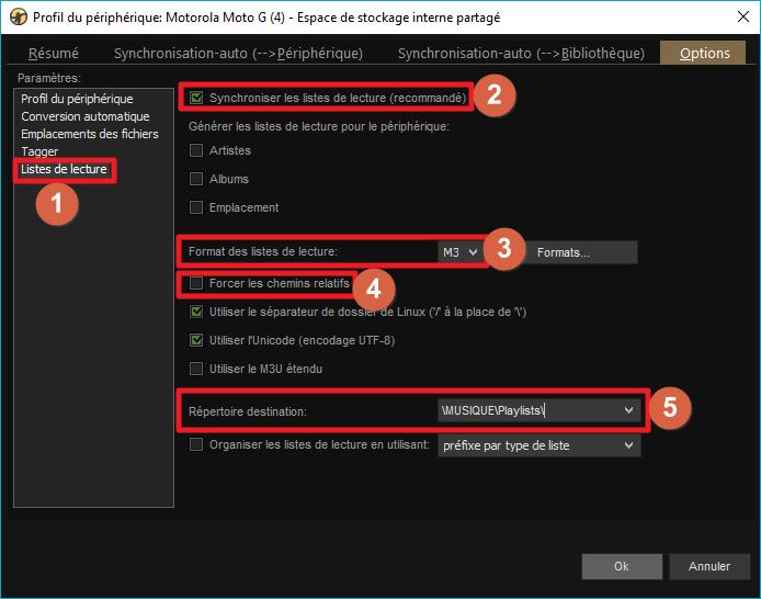"""Capture d'écran de l'application MediaMonkey, onglet """"Listes de lecture"""" des options du profil de périphérique."""