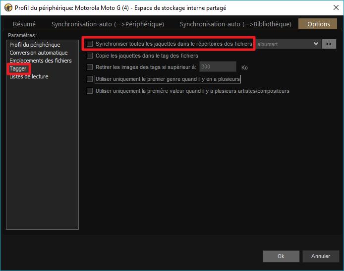 """Capture d'écran de l'application MediaMonkey, onglet """"Tagger"""" des options du profil de périphérique."""