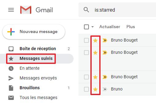 Capture d'écran du site Gmail, affichage des messages suivis (étoile jaune).