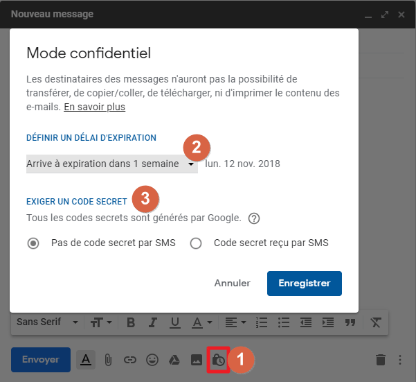 Capture d'écran du site Gmail, mode confidentiel.
