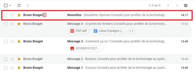 Capture d'écran du site Gmail, mode conversation Gmail activé.