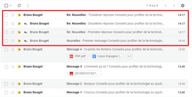 Capture d'écran du site, mode conversation Gmail désactivé.