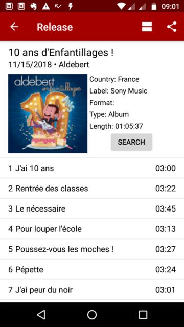 """Capture d'écran de l'application Android """"Muspy"""", Notification pour l'album """"10 Ans d'Enfantillages"""" d'Aldebert."""