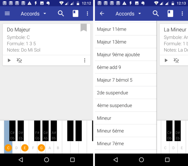 Capture d'écran de l'application Android My Piano Assistant.